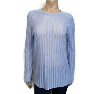 🍁 ZARA Sheer Striped Periwinkle Long Sleeve Top